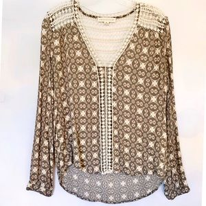 ✨Lattice Long Sleeve Pattern Blouse